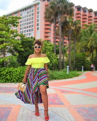skirt blogger style summer bag ruffle skirt striped skirt off the shoulder off the shoulder top earrings sandals blogger satchel bag ruffled top