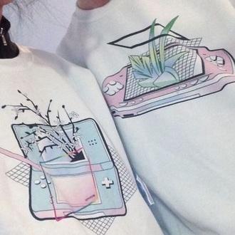 sweater white crewneck printed sweater print cute couple sweaters pastel vaporwave aesthetic tumblr instagram cool rad oversized sweater