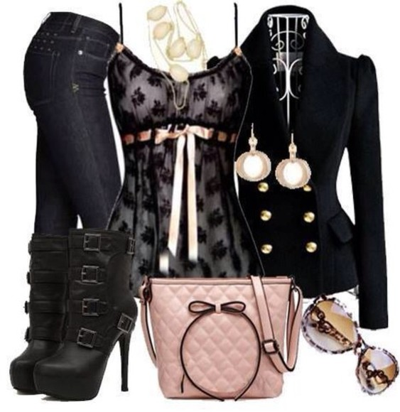 jacket gold buttons black shirt pink ribbon lace black lace bow bag tank top blouse