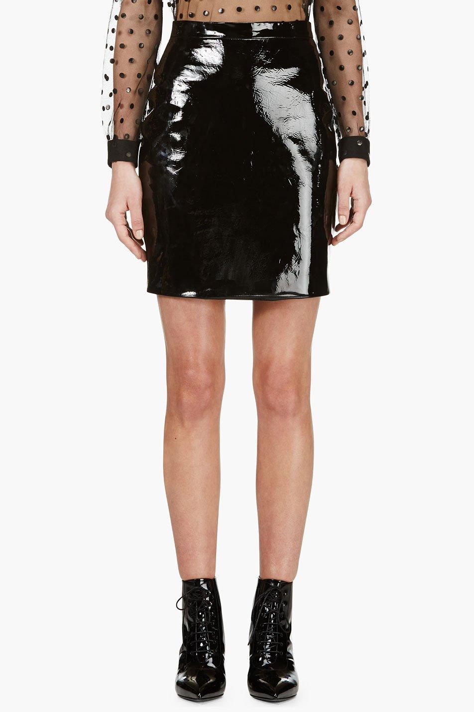 laurent black patent leather mini skirt