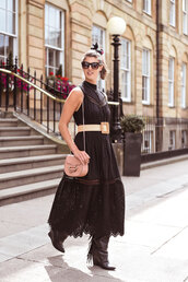 bag,mini bag,boots,midi dress,black dress,belt,sunglasses