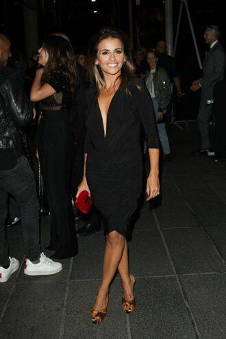 dress monica cruz paris fashion week 2016 black dress midi dress little black dress plunge dress