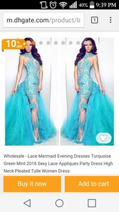 dress,turquoise,greenmint,lace,mermaid prom dress,mermaid,lace mermaid dress,2016,evening dress,prom,prom dress,dhgate.com,aliexpress