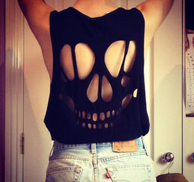 Cutout skull tshirt on wanelo