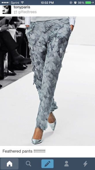 pants gray feathers