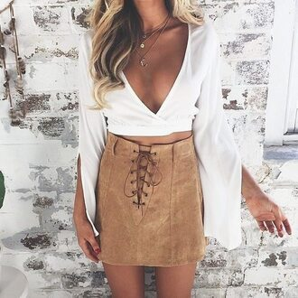 skirt suedette beige skirt tie up mini skirt