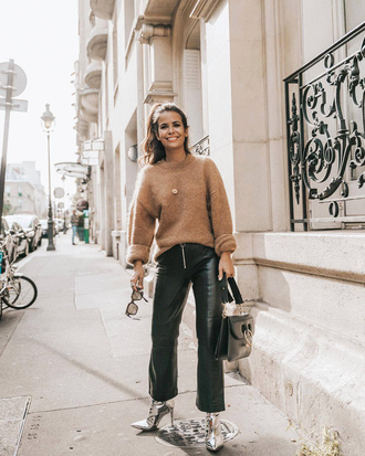 sweater leather pants tumblr brown brown sweater pants black pants cropped pants boots ankle boots fall outfits