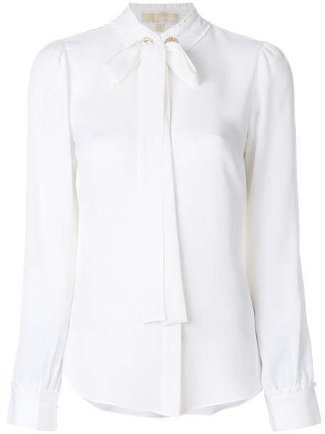 MICHAEL Michael Kors blouse bow women white silk top