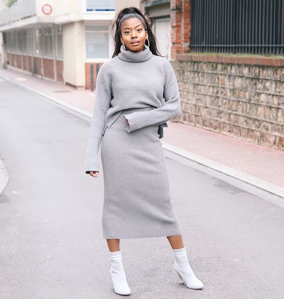 jumpsuit grey sweater grey skirt youtuber long skirt midi skirt sweater skirt zara grey grey skirt