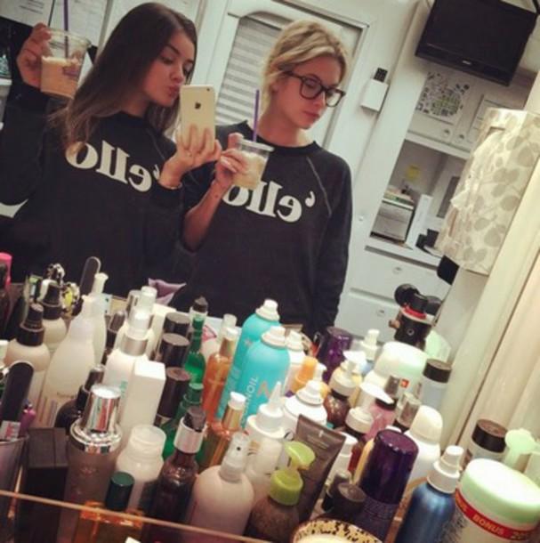 sweater ashley benson lucy hale matching sweatshirts selfie