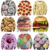 sweater,tie dye,pizza,fries,i love cupcakes,cupcake,cupcake crewneck,chocolate chip cookies,cookies,crewneck,food,cute sweaters,comfy
