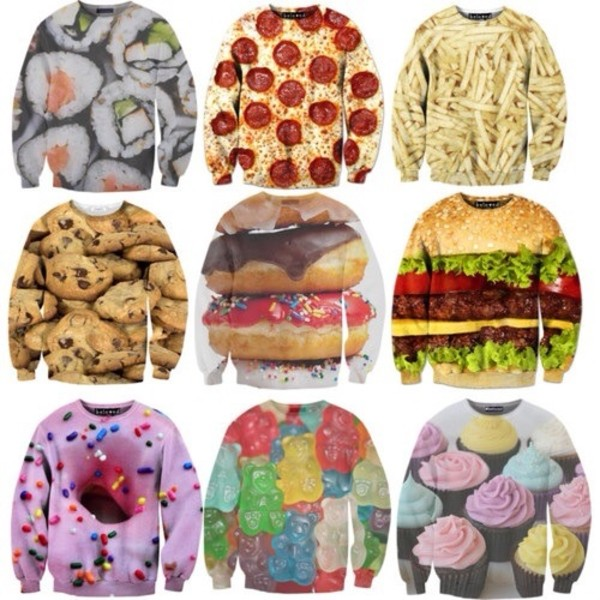 sweater tie dye pizza fries i love cupcakes cupcake cupcake crewneck chocolate chip cookies cookies crewneck food cute sweaters comfy