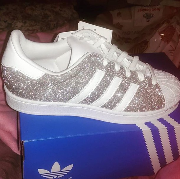 shoes, adidas superstars, glitter, white,