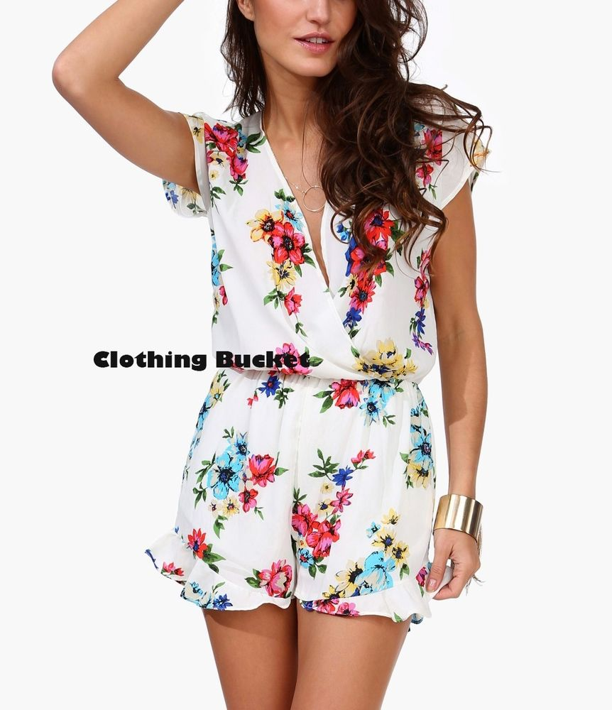 Sexy White Short Sleeve Floral Print Plunging V Neck Summer Beach Romper | eBay