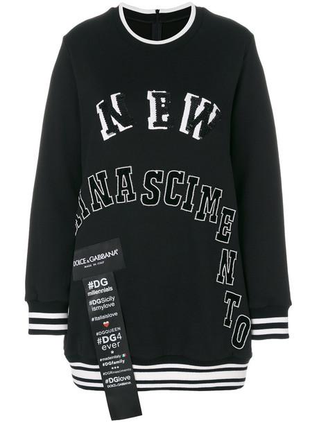 Dolce & Gabbana - patch appliqué sweatshirt - women - Silk/Cotton/Polyester/glass - 38, Black, Silk/Cotton/Polyester/glass