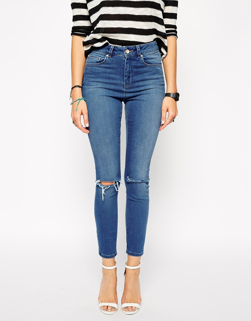 Asos ridley skinny ankle grazer jeans in melbourne mid wash with ripped knees at asos.com