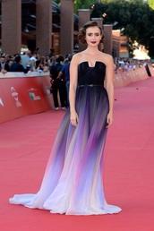 lily collins,prom dress,long dress,puple,black dress,city of bones,movie,purple dress,black prom dress