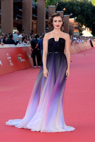 lily collins prom dress long dress puple black dress city of bones movie purple dress black prom dress