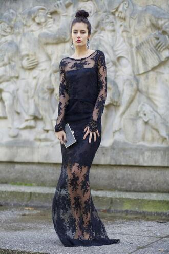 from brussels with love blogger maxi dress lace dress black dress dress shoes bag jewels