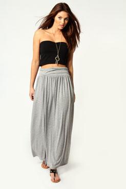 Fiona Fold Over Waist Jersey Maxi Skirt at boohoo.com