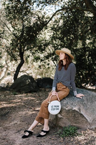 could i have that blogger sweater pants hat bag shoes striped top round bag spring outfits