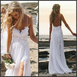 Wholesale Backless Bridal Gowns - Buy 2014 Spaghetti Strap Backless Beach Bridal Gowns Split Front White Lace Ruffled Chiffon Flowing Garden A-Line Beach Wedding Dresses Cheap, $122.52 | DHgate