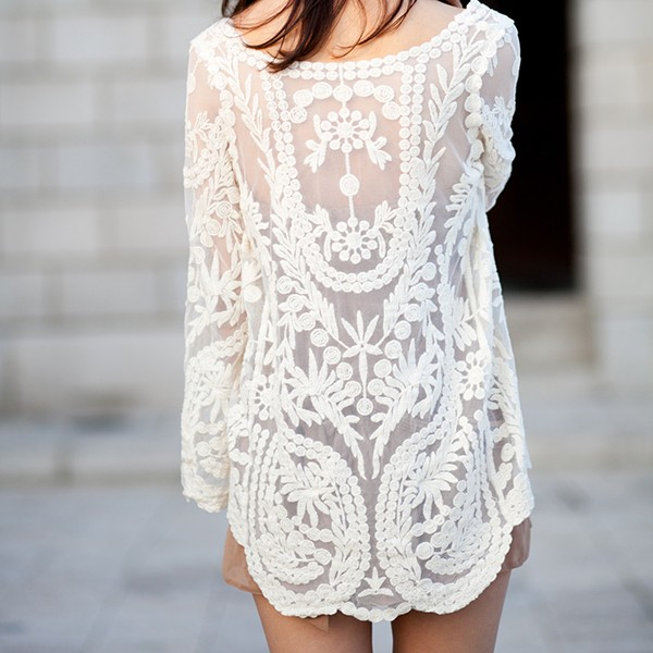 Long Sleeve Lace Shirt from Whitelily Fashion on Storenvy