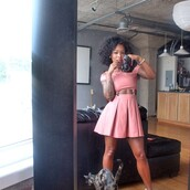 dress,pink,skater skirt,set,crop tops,two-piece