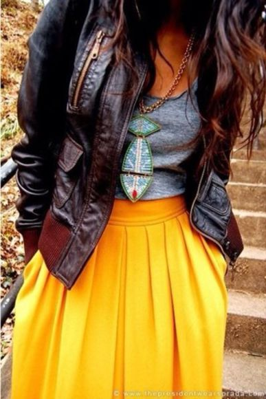 yellow skirt dress black leather jacket jewels tribal bright teal aztec style necklace statement necklace