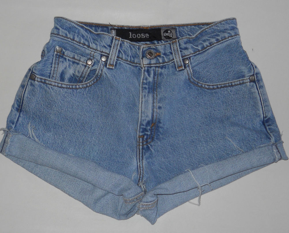"Vtg Levis Silvertab Loose Shorts 5 27"" High Waist Denim Stonewash Blue Cut Off 