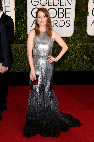 dress julianne moore givenchy golden globes 2015 silver feathers red carpet dress