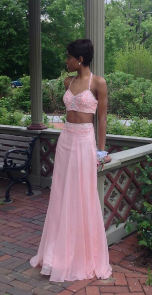 Dress: pink prom dress, separates, tank and skirt, lace tank ...
