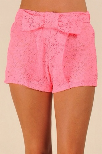 shorts pink highwaisted shorts high waisted short now pink lace bow pink bow