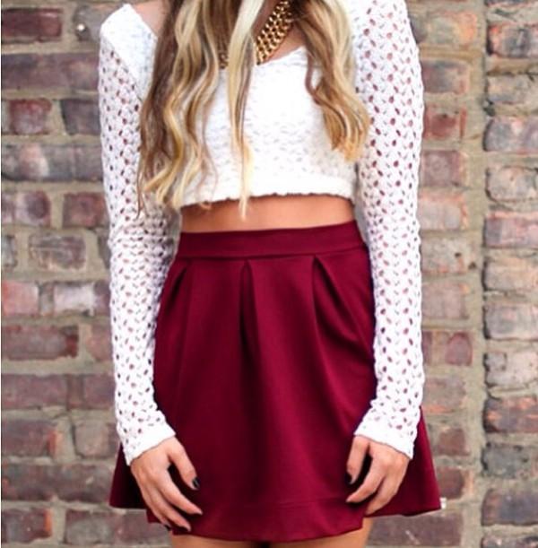 skirt dark red