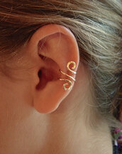 jewels,earrings,ear cuff,gold,14k gold jewelry,non pierced,handmade,usa