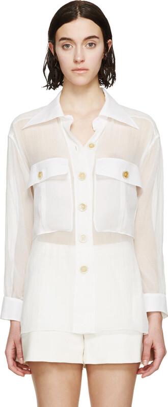 shirt white silk top