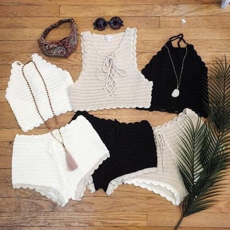 shirt knit white beige black kendall and kylie jenner clothes short shorts booty shorts sunglasses