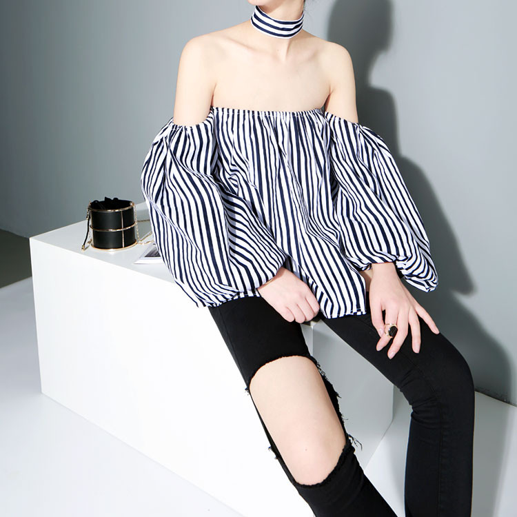 Lucky Stripes Slash off the Shoulder With Chocker