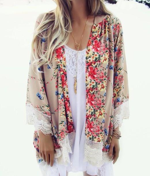 Cardigan Kimono Jacket Blouse Floral Flowers Fringe Shirt Indie Boho Bohemian Vintage Hipster Tumblr