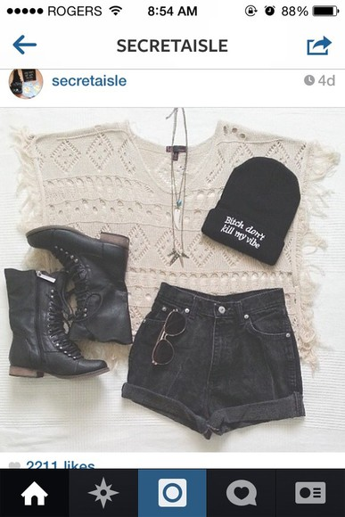 hat black hat shorts shirt top, shirt, boots, jewelry