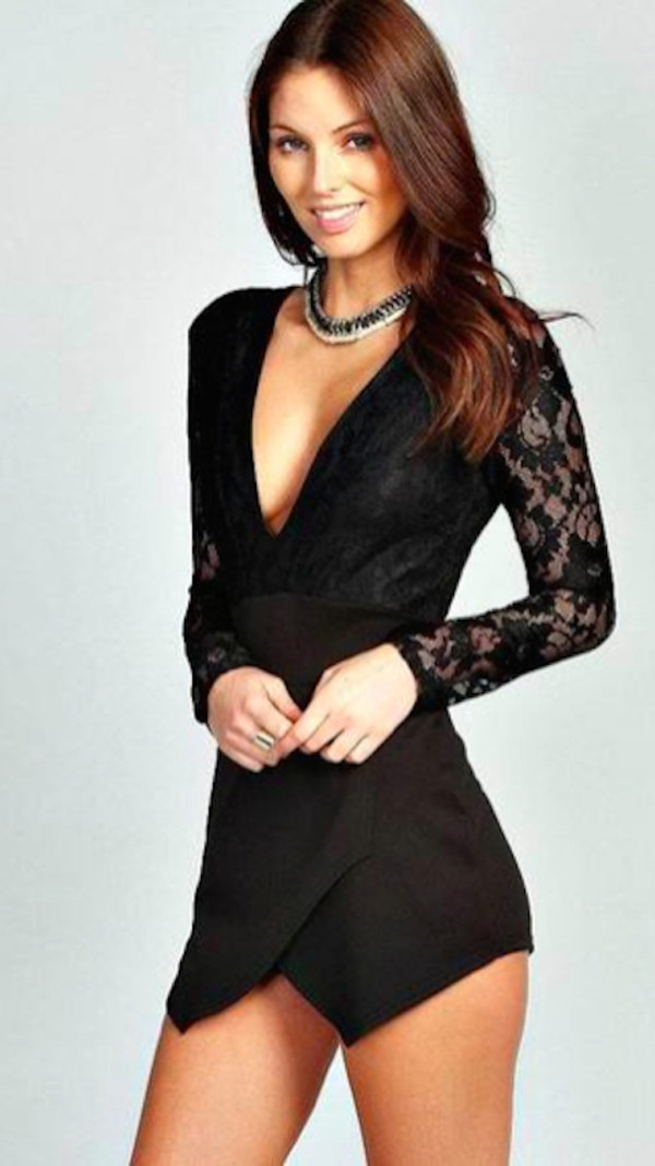 Romper: black romper, deep v neckline, short, lace detail ...
