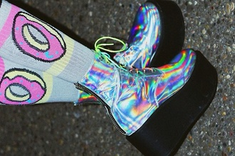 underwear holographic donut of drmartens punk perf cool swag hipster tumblr fashion weird odd future shoes boots rainbow donut tights holographic shoes platform shoes grunge shoes tights grunge kawaii style platform boots