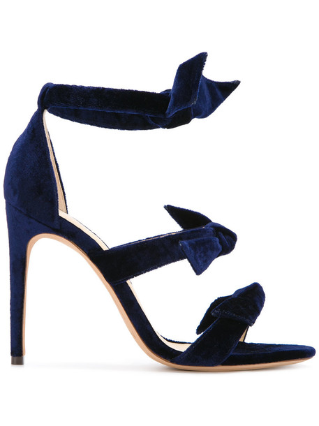 Alexandre Birman women sandals leather blue silk velvet shoes