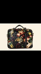 bag,floral,flowers,black,red,rose,print,vintage,retro,gold,silver,beautiful bags,fashion bags,indie bag,black bag,women shoulder bags,travel bag,suitecase,purse