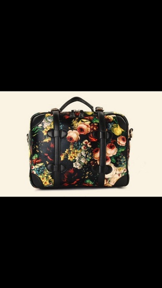 bag floral flowers black red rose printed vintage retro golden silver beautiful bags fashion bags indie bag black bag women shoulder bags travel bag suitecase purse