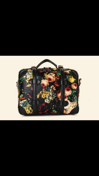 black floral vintage retro must have kawaii bag unicorn flower mermaid red rose printed golden silver backpack beautiful bags fashion bags indie bag black bags women shoulder bags diamond