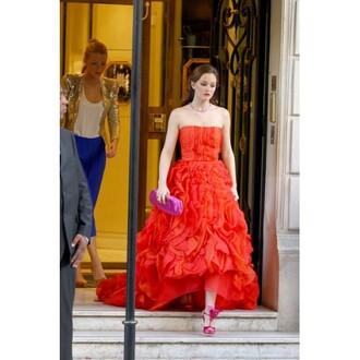 dress leighton meester blair dress gossip girl dress red strapless ruffled dress