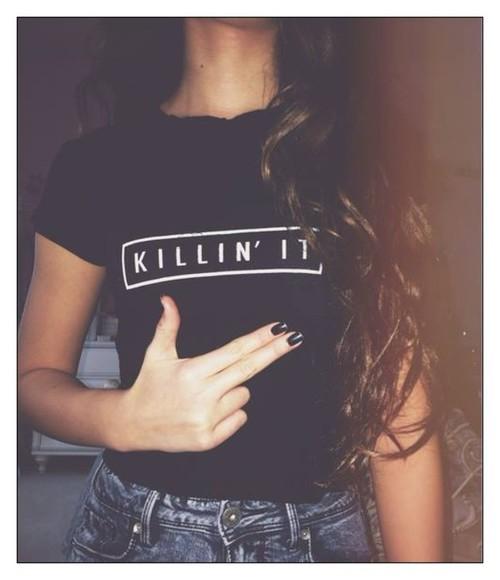 fashion cool t-shirt cool girl style blogger killin it killin it shirt blogger trend blogger outfit bloggers style BLOGGER fashion t-shirt skater skater girl