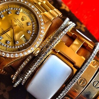 jewels gold diamonds watch braccelets