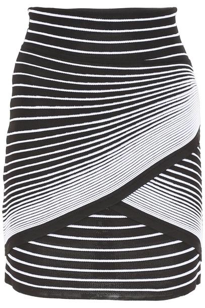 Balmain Striped Knit Mini Skirt in noir
